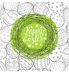 Template card with nest and Easter eggs vector image