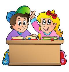 two children at school desk vector image