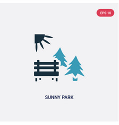 Two color sunny park icon from nature concept vector