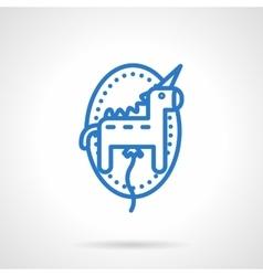 Unicorn balloon icon blue line style vector