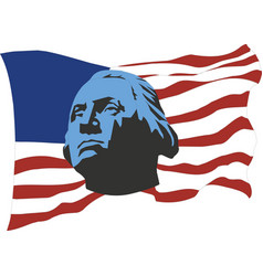 usa flag with portrait george washington vector image