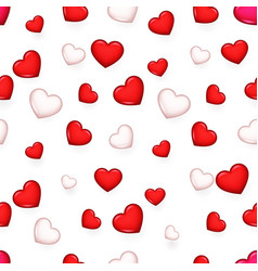 valentine day isolated heart 3d seamless pattern vector image