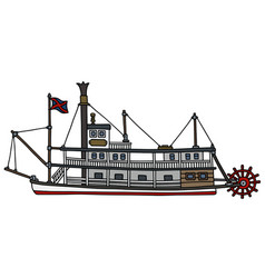 Vintage paddle steamboat vector