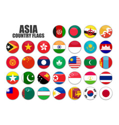 Web buttons with asia country flags flat vector