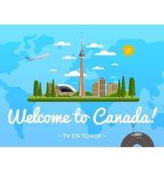 Welcome to Canada poster with famous attraction vector