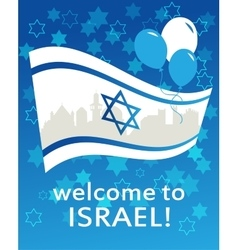 welcome to Israel flag david star and peace vector image
