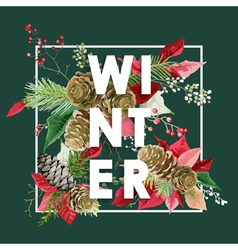 Winter Christmas Design in Winter Flowers vector image
