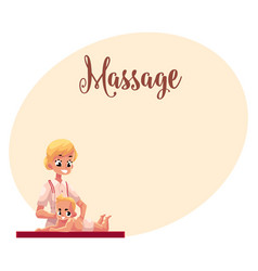 young beautiful therapist doing baby massage vector image