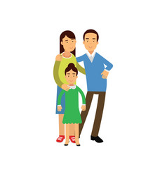 Young parents standing with their daughter happy vector