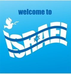 abstract Israeli flag and peace white dove vector image