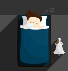 bed sleep time salary man cartoon lifestyle vector image vector image