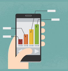 Mobile phone and infographics vector