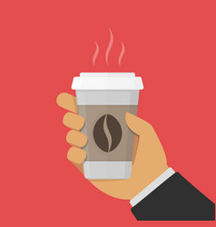paper cup of coffee in hand vector image vector image