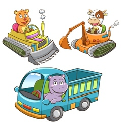 set of construction vehicle animal cartoon vector image vector image