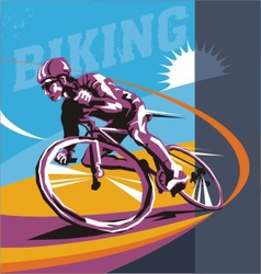 biking cyclist poster vector image vector image