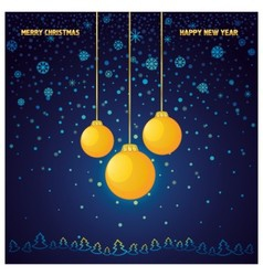 Blue Christmas background with a yellow glass ball vector image