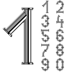 chrome pipe alphabet numbers vector image vector image