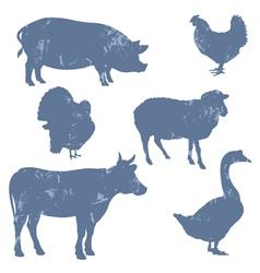 Farm animals silhouettes vector image vector image