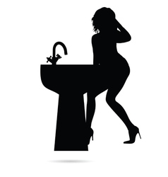 girl sensual silhouette with sink vector image