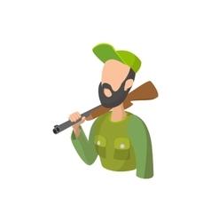 Hunter holding gun cartoon icon vector image