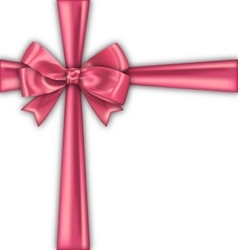 Pink Realistic Satin Ribbon and Bow Isolated vector image vector image