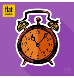 Sketch style hand drawn alarm clock flat icon vector image vector image