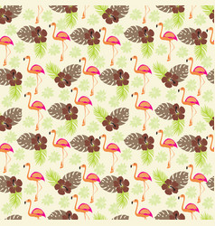 tropical pattern with flamingo and palm leaves vector image