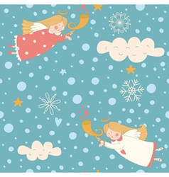 Angels seamless pattern vector image