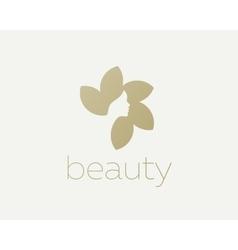 Beautiful woman face flower star logo design vector image