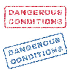 dangerous conditions textile stamps vector image vector image