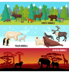 Flat Animal Banners Set vector image
