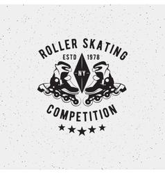 Retro vintage roller skating label vector