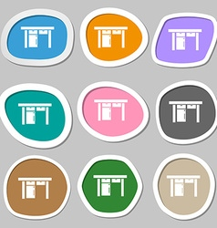Table icon sign Multicolored paper stickers vector image