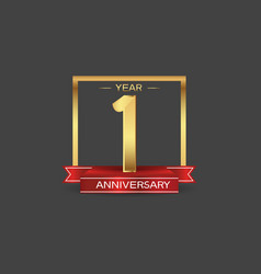 1 year anniversary logo style with golden square vector
