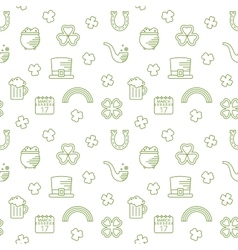 Abstract green seamless line art pattern vector image