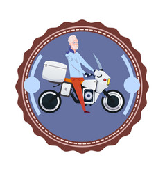adult man riding modern motorcycle vintage logo vector image