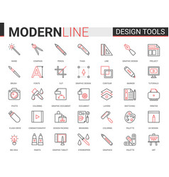 Art design tool flat thin red black line icons vector