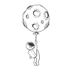 Astronaut holding on to moon vector