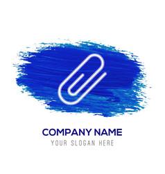 Attach paper clip icon - blue watercolor vector