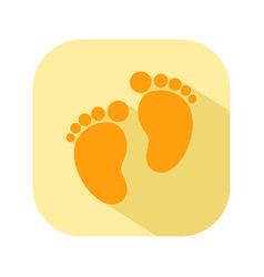 baby footprints flat color icon newborn baby vector image