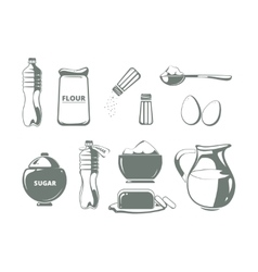 Baking ingredients monochrome set vector