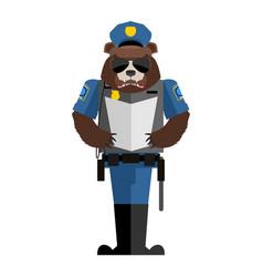 bear policeman wild animal police form cap and vector image
