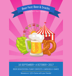 Beer fest poster with snacks vector