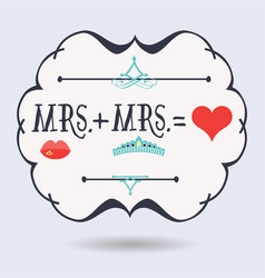 Black abstract emblem with conceptual mrs plus mrs vector