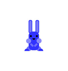 bluish rabbit hare toy animal - flat design vector image