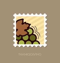 bunch of grapes stamp harvest thanksgiving vector image