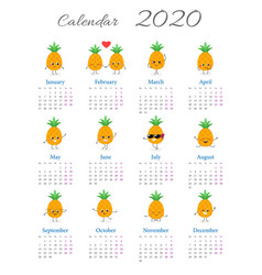 Calendar 2020 with pineapple characters vector