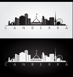 Canberra skyline and landmarks silhouette vector