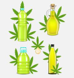 Cannabis oil bottle set realistic vector