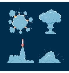 Cartoon bomb explosion with smoke vector